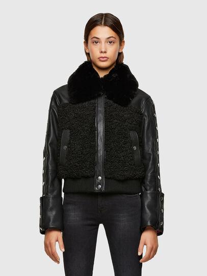 Diesel - L-CELIA-TEDDY, Black - Leather jackets - Image 1