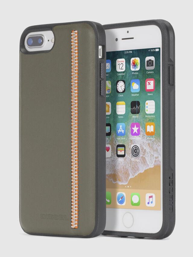 Diesel - ZIP OLIVE LEATHER IPHONE 8 PLUS/7 PLUS/6s PLUS/6 PLUS CASE, Olive Green - Cases - Image 1