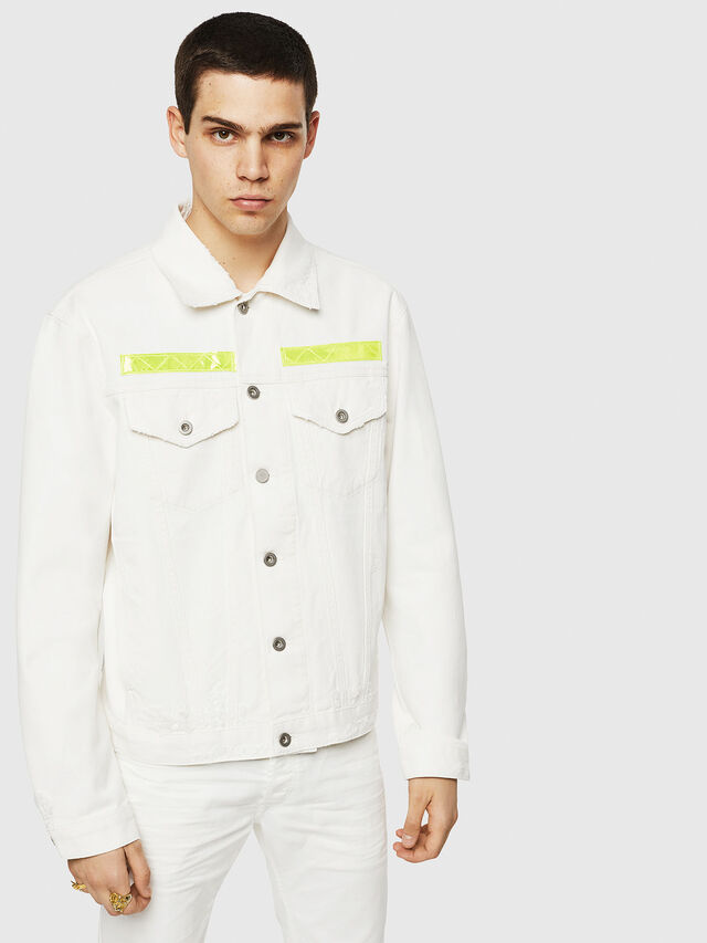 Diesel - D-HILL, White/Yellow - Denim Jackets - Image 1