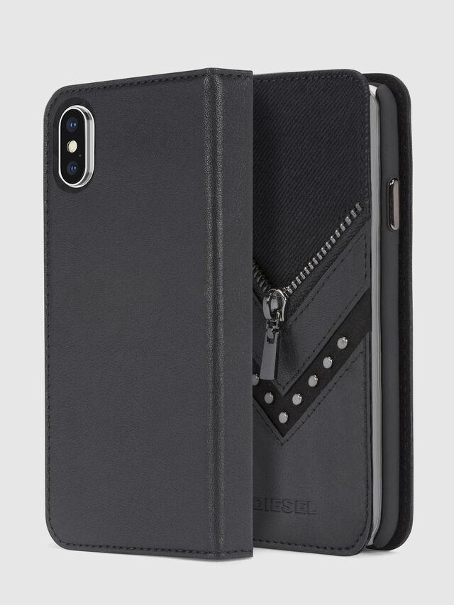 Diesel - BLACK DENIM/STUD/ZIPPER IPHONE X FOLIO, Black - Flip covers - Image 1