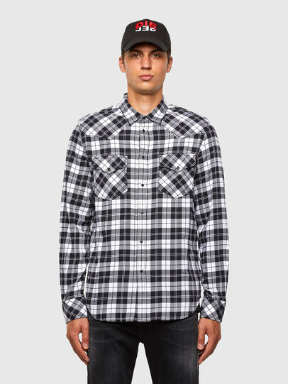 Diesel - S-EAST-LONG-CHK, Black/White - Shirts - Image 1