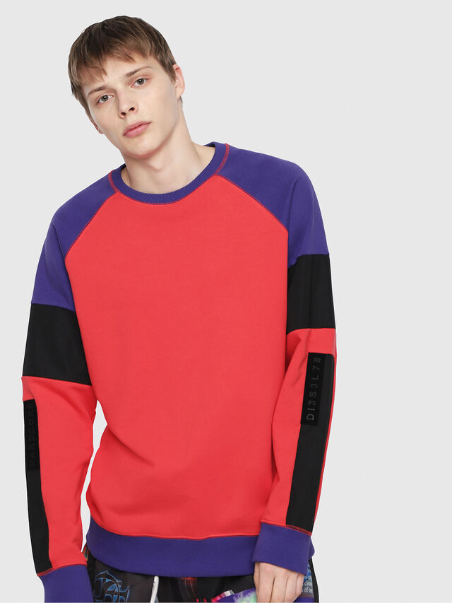 Diesel - S-GIM-BLOCK, Red/Black - Sweaters - Image 1
