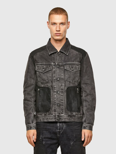 Diesel - NHILL-ROD-SP, Black - Denim Jackets - Image 1