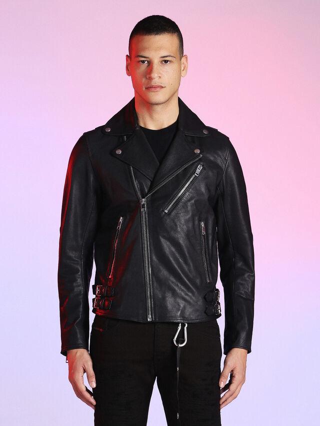 Diesel - LU-L-KRAMPS, Black - Leather jackets - Image 1