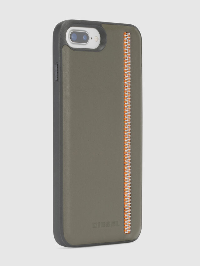 Diesel - ZIP OLIVE LEATHER IPHONE 8/7/6s/6 CASE, Olive Green - Cases - Image 5