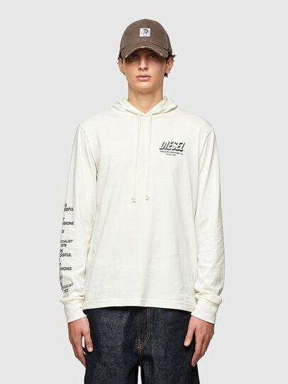 Diesel - T-JUST-LS-HOOD-SLITS, White - T-Shirts - Image 1