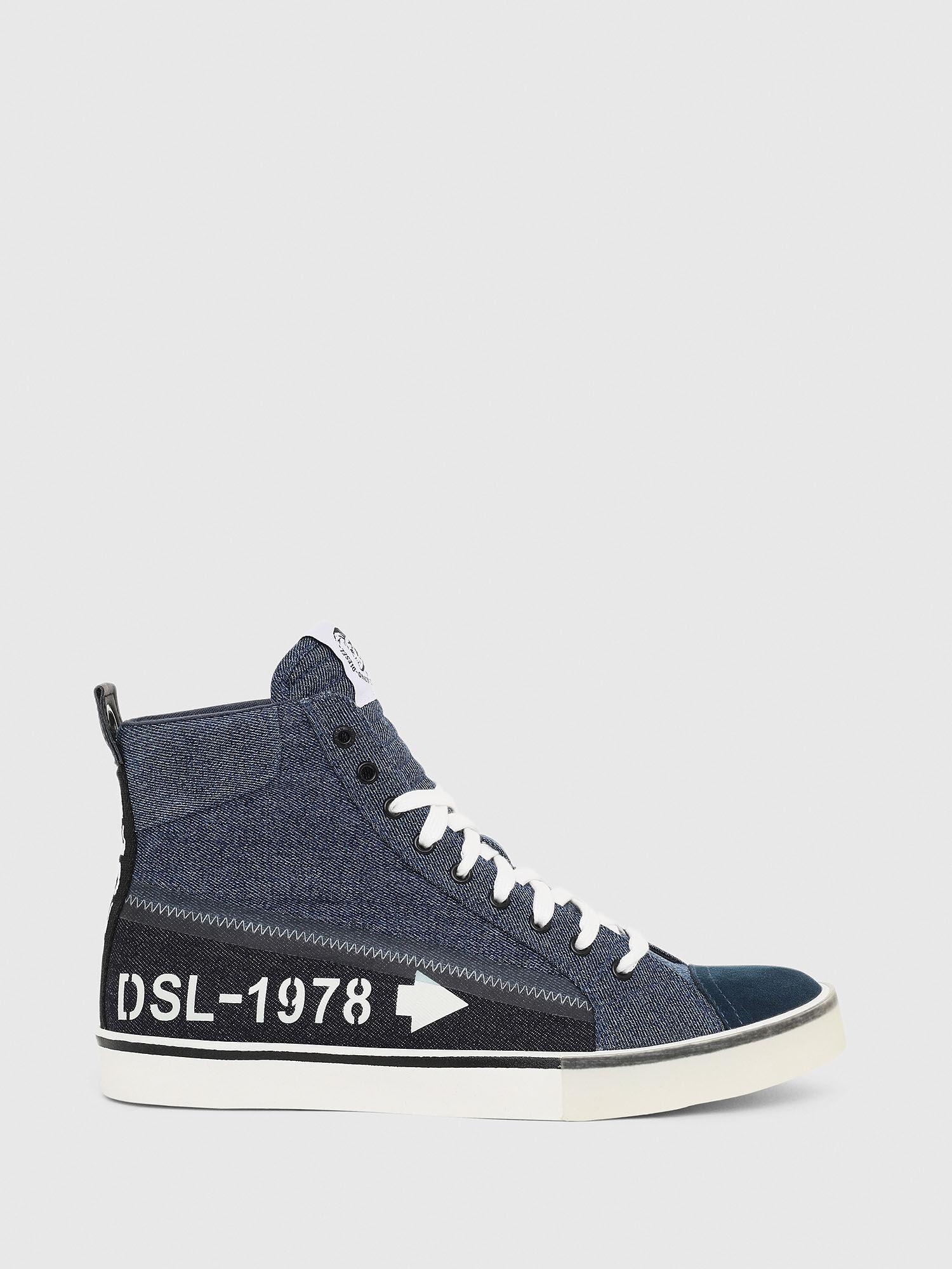 denim sneakers with logo print