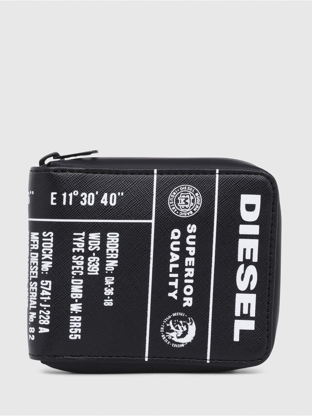 Diesel - ZIPPY HIRESH S, Black/Yellow - Zip-Round Wallets - Image 1