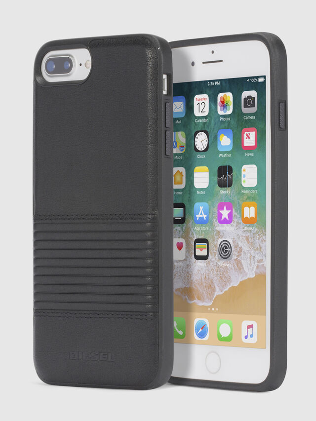 Diesel BLACK LINED LEATHER IPHONE 8/7/6s/6 CASE, Black - Cases - Image 1