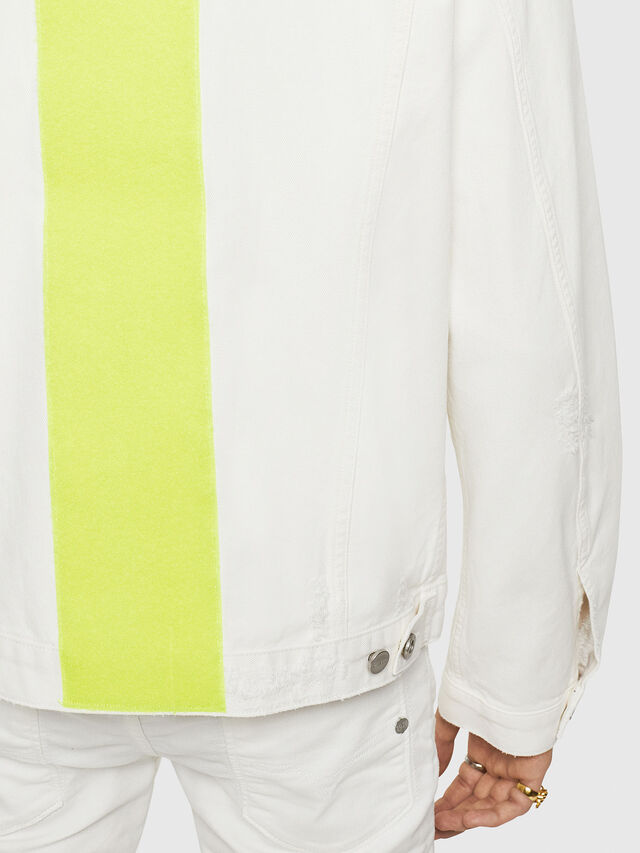 Diesel - D-HILL, White/Yellow - Denim Jackets - Image 5