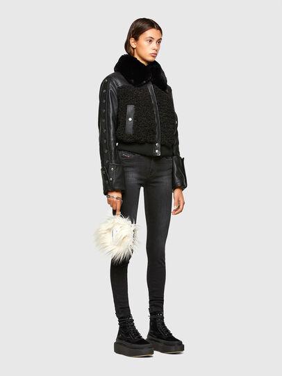 Diesel - L-CELIA-TEDDY, Black - Leather jackets - Image 7