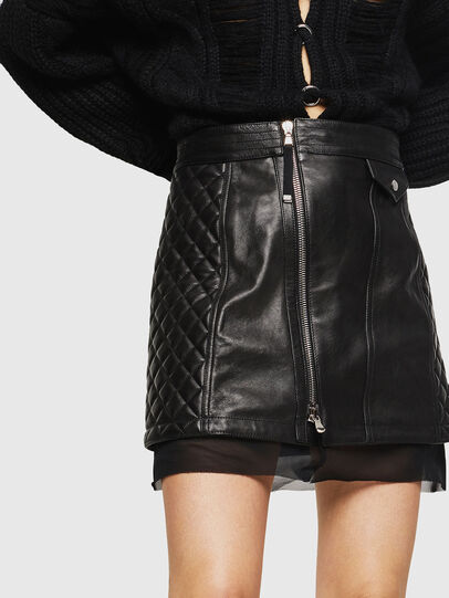 Diesel - OLESIA, Black - Leather skirts - Image 3