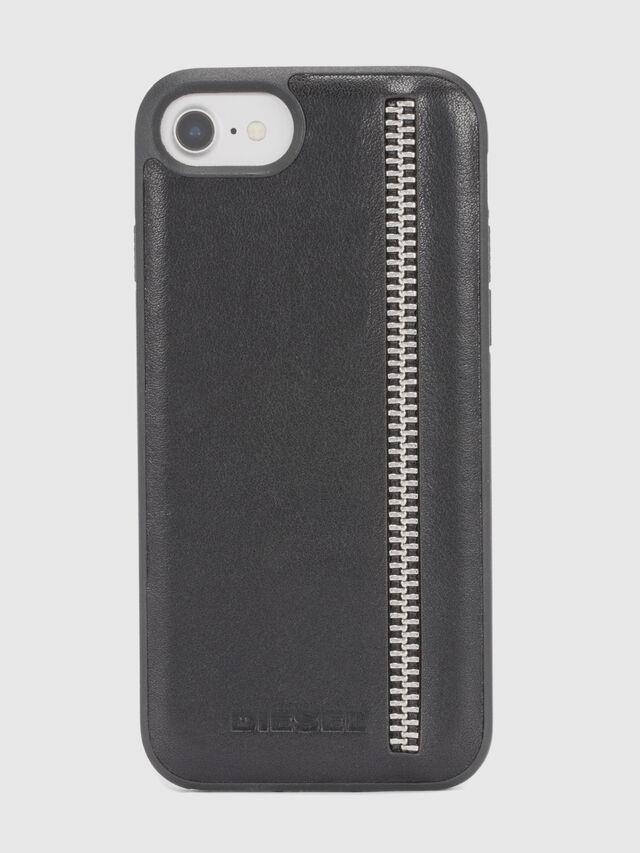 Diesel ZIP BLACK LEATHER IPHONE 8 PLUS/7 PLUS/6s PLUS/6 PLUS CASE, Black - Cases - Image 2