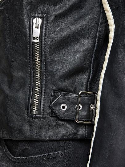 Diesel - L-PARKS, Black/Green - Leather jackets - Image 6
