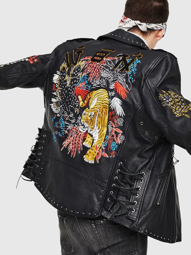Diesel - L-JUNER, Black - Leather jackets - Image 4