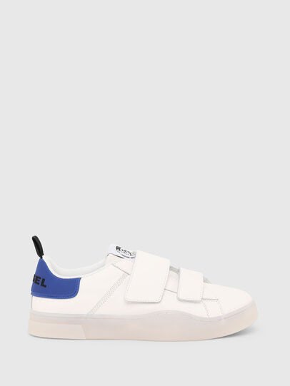 Diesel - S-CLEVER LOW STRAP, White/Blue - Sneakers - Image 1